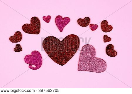 Glitter Hearts Nubes On Pink Background. Womens Day, Mothers Day, Valentines Day Template