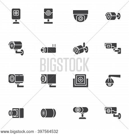 Cctv Camera Vector Icons Set, Modern Solid Symbol Collection, Filled Style Pictogram Pack. Signs, Lo