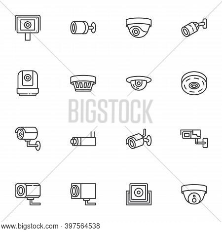 Security Camera Line Icons Set, Outline Vector Symbol Collection, Linear Style Pictogram Pack. Signs