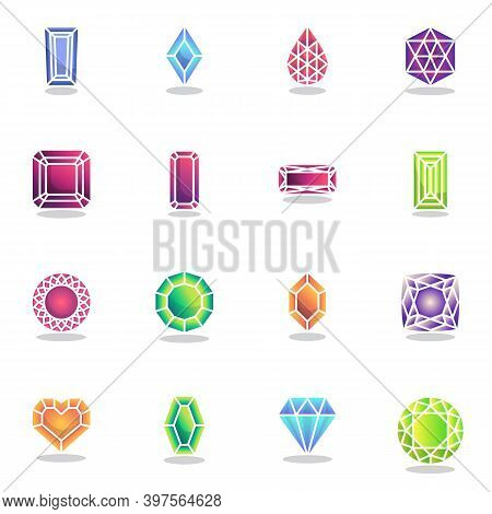 Precious Gemstones Collection, Gem For Game Flat Icons Set, Colorful Symbols Pack Contains - Jewel D