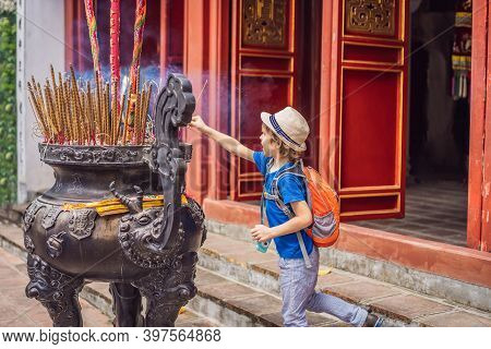 Incense Sticks On Joss Stick Pot Are Burning And Smoke Use For Pay Respect To The Buddha, Incense St