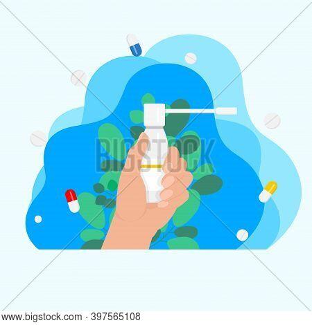 In Hand Throat Aerosol, Throat Medicine, Medicine Concept, Disease Treatment Concept. Sore Throat Tr