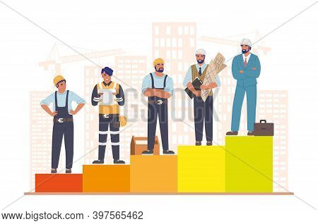 Construction Workers Standing On Raising Bar Graph, Flat Vector Illustration. Home Builder Career Pa