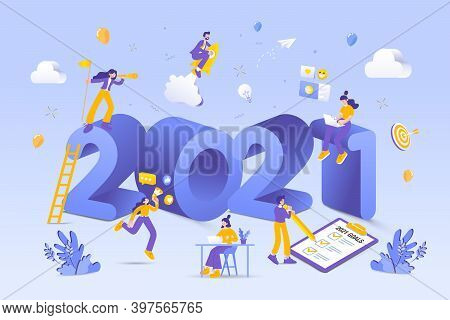 Happy New Year 2021. 2021 Business Goals Concept Illustration.  Marketers Doing Social Media Marketi