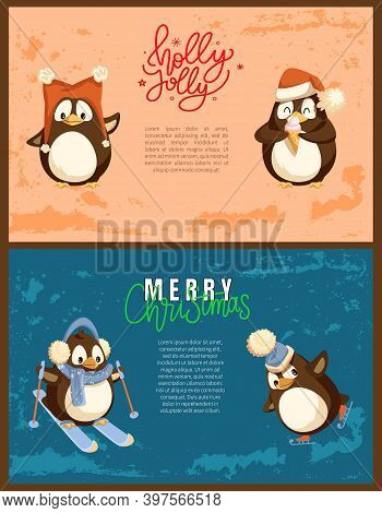 Penguin Skating And Skiing, Enjoying Ice-cream In Warm Headdress With Pompon. Colorful Greeting Merr