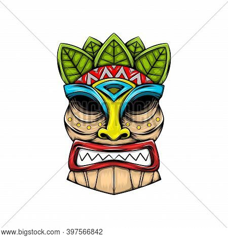 The Traditional Tiki Island Mask Made From The Wood With The Leaves Accent