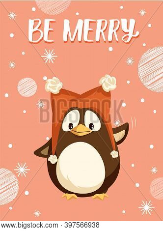 Penguin In Funny Hat With Buboes, Merry Christmas Wish. Arctic Bird In Headdress Waving Wing, Winter