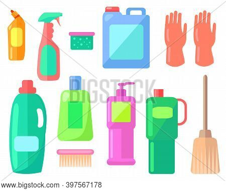 Collection Of Cleaning Washing Tools Or Equipment. Bottle With Toilet Cleaner, Spray Bottle, Sponge,
