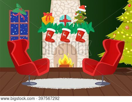 Fireplace Decorated With Socks And Reindeer Print Vector. Home Interior, Blizzard Outside Window, Ar