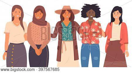 Group Of Smiling Women Of Different Nationalities Close-up. European, Muslim, Hispanic, Black, Asian