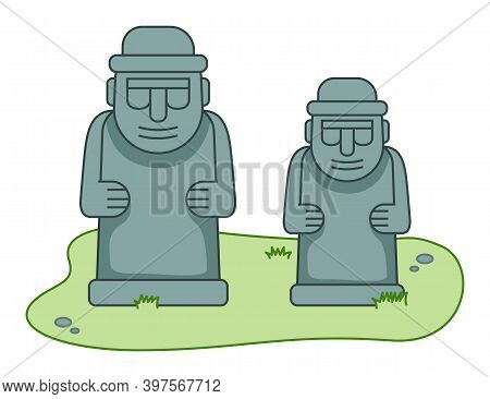 Stone Sculptures In Human Body Form In Stone Park. Stone Statue Of Dol Hareubang Tourist Attraction