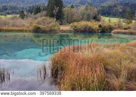 Beautiful Mountain Lake In Autumn In Triglav National Park, Slovenia