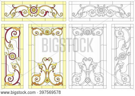 Abstract Glass Panels Geometric Floral Pattern In A Rectangular And Square Frame / Colorful Stained