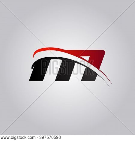 Initial M Letter Logo With Swoosh Colored Red And Black