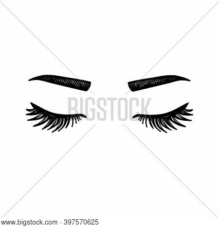 Closed Eyes With Eyelashes. Women Eyes Simple Illustration. Black White . Eyelashes, Eyebrows, Eye S