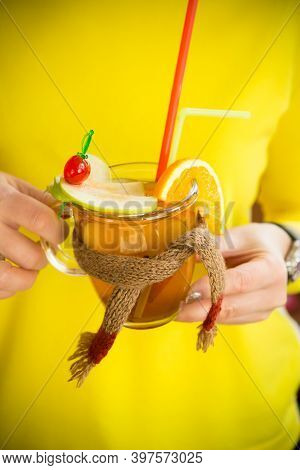 Woman Holding Decorated Warm Winter Cocktail Glass
