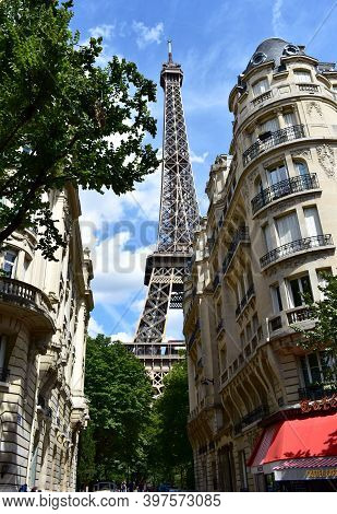Paris, France. August 11, 2018. Parisian View Of Tour Eiffel From Rue De Buenos Aires Or Rue Buenos-