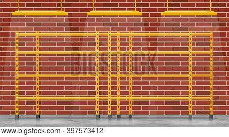Metal Yellow Standing Rack. Empty Metallic Storage Shelves In Building. Warehouse Equipment And Tool