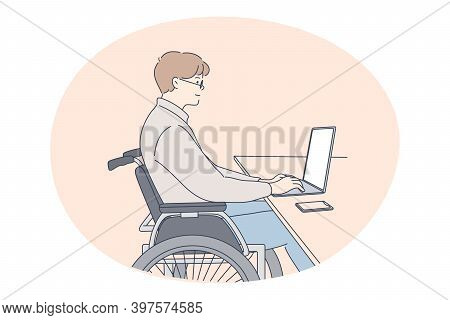 Disabled People On Wheelchair Living Happy Active Lifestyle Concept. Young Disabled Man On Wheelchai