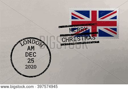 Postage Envelope With Uk Flag On Postage Stamp And Cancellation Stamps, Vector
