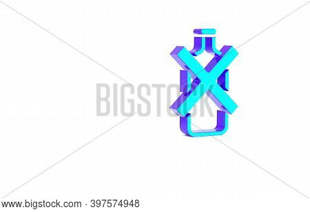 Turquoise No Alcohol Icon Isolated On White Background. Prohibiting Alcohol Beverages. Forbidden Sym