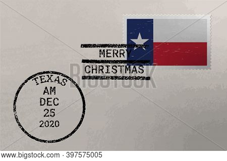 Postage Envelope With Texas Flag On Postage Stamp And Cancellation Stamps, Vector