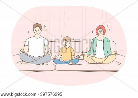 Yoga, Meditation, Healthy Active Sport Lifestyle Concept. Happy Smiling Family With Small Son Sittin
