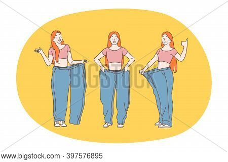 Losing Weight, Slim, Diet Concept. Young Positive Woman Cartoon Character Feeling Happy And Glad To
