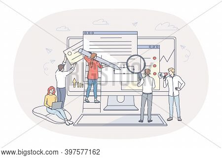 Finance, Analytics, Teamwork Concept. People Business Partners Workers Cartoon Characters Analysing