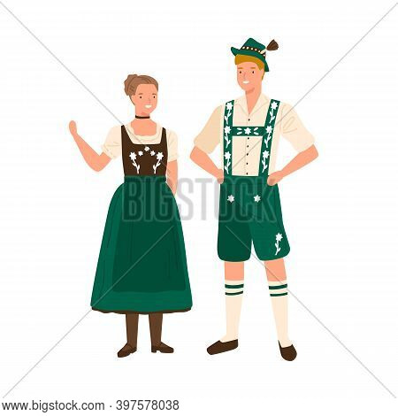 German Couple Wearing Traditional Bavarian Costumes. Man In National Folk Shorts, Suspenders And Hat