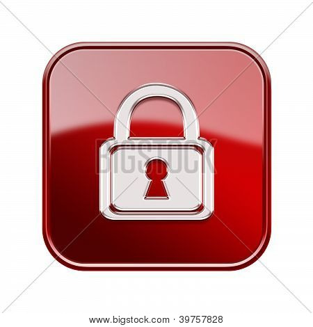 Lock Icon Glossy Red, Isolated On White Background