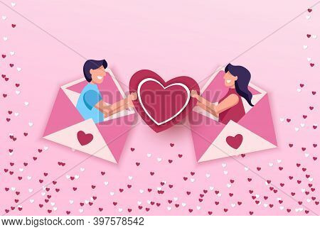Valentines day, exchange of love letters at a distance. Online dating app concept flat.  Happy Valentines Day card with hearts, cupids and place for your text vector illustration. Valentines day background. Valentine, valentine day, Valentines Day backgro