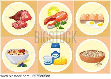Collection Of Healthy Food. Lean Red Meat, Salmon With Lemon, Parsley, Eggs, Oatmeal With Strawberri