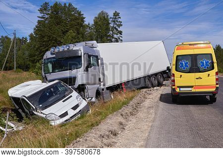 Car Accident On A Road, Truck And Van After Collision.