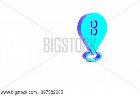 Turquoise Map Pin Icon Isolated On White Background. Navigation, Pointer, Location, Map, Gps, Direct