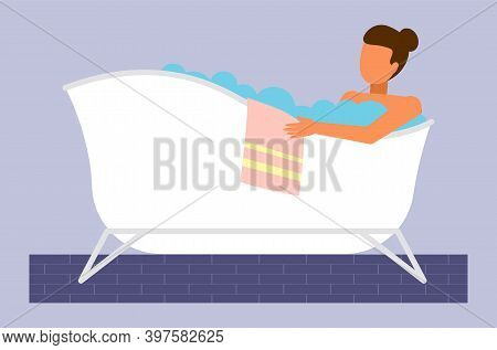 Young Woman Taking Bath, Washing Body, Relaxing With Bubbles And Towel, Girl Bathing In Hot Water. R