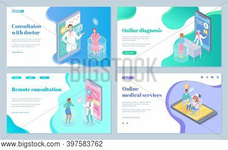 Landing Page Of Medical Website, Collection. Consultation With Doctor. Online Diagnosis. Remote Cons