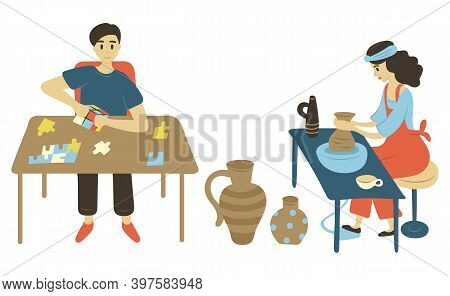 Puzzle Solving Man Vector, Isolated Male And Woman On Leisure. Pastime Of People At Home, Lady With