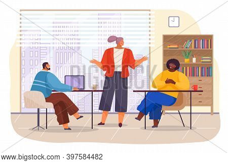Workers In Office With Panoramic Window, Young Woman Talking With Colleagues, African Man Listening