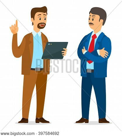 Two Partners Discussing New Project. Serious Man Listening Guy With Digital Tablet. Office Worker Ta