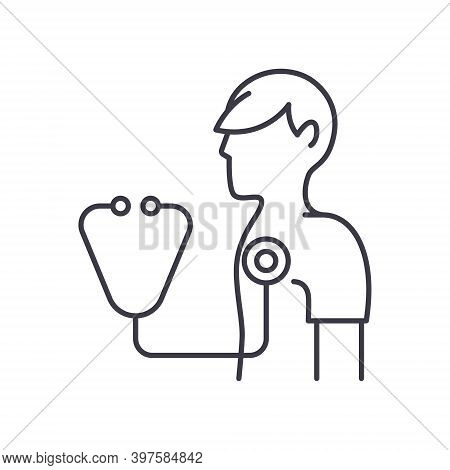 Medical Checkup Icon, Linear Isolated Illustration, Thin Line Vector, Web Design Sign, Outline Conce