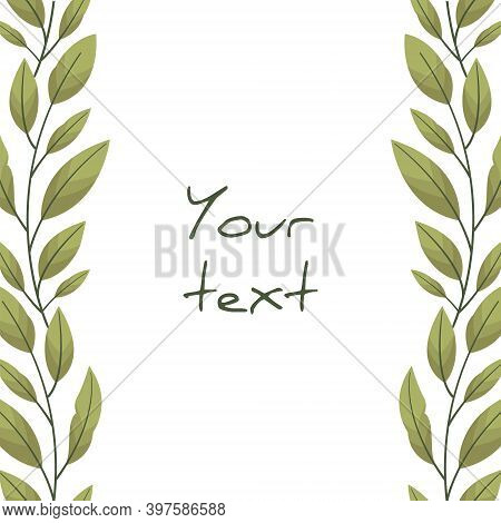Vertical Foliate Borders With Bay Leaves For Greeting Cards, Invitations, Wedding Cards, Posters, Ba