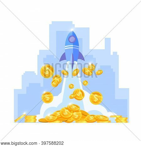 Income Growth Or Money Increase Finance Vector Illustration With Ship Launch, Golden Coins, Downtown