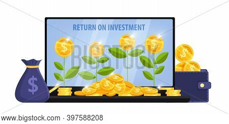Income Growth, Return On Investment Concept With Laptop Screen, Money Plants, Bag, Dollar Coins Pile