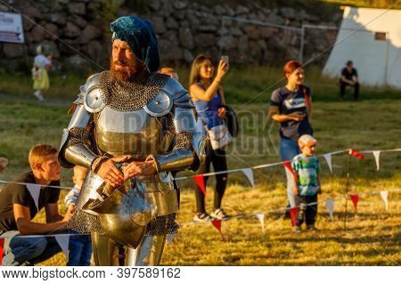 Russia. Vyborg. 08.20.2020 A Man In A Medieval Costume At The Summer Festival
