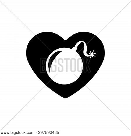 Heart Icon. A Symbol Of Love. Valentine S Day With The Sign Of The Bomb. Flat Style For Graphic And