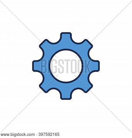 Simple Blue Gear Or Cog Vector Concept Icon Or Design Element