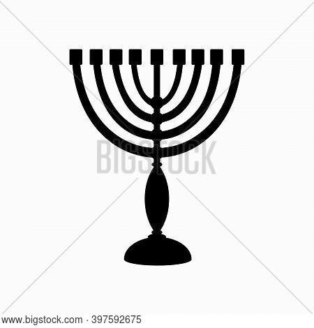 Hanukkah Menorah Black Silhouette Candlestick With 9 Candles. Chanukah Jewish Holiday Festival Of Li