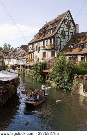 Colmar, France - September 10, 2010: The Little Venice (la Petite Venise) In Colmar City. Alsace, Fr