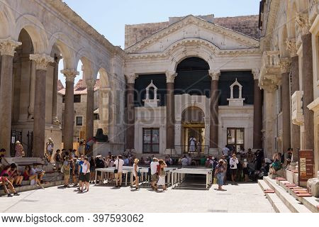 Split, Croatia - August 24, 2012: The Peristyle Of The Diocletian Palace In Split, Croatia. Diocleti
